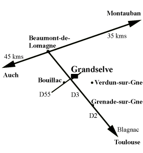 Plan d'accès à l'abbaye de Grandselve.